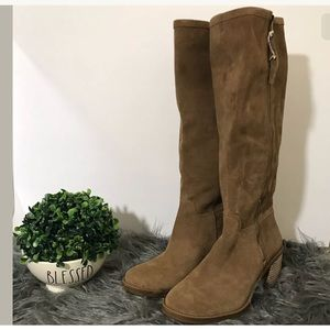 Lucky brand Resper knee high stacked heel boot 7.5